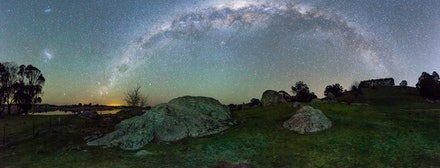 Lake Oberon Rocks - Stitched Panorama of Southern Hemisphere Milky Way over Rocks at Lake Oberon, NSW.