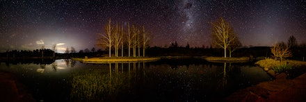 Water Garden, Mayfield Gardens - Panorama of the Water Garden at Mayfield Gardens highlighted by the night sky.