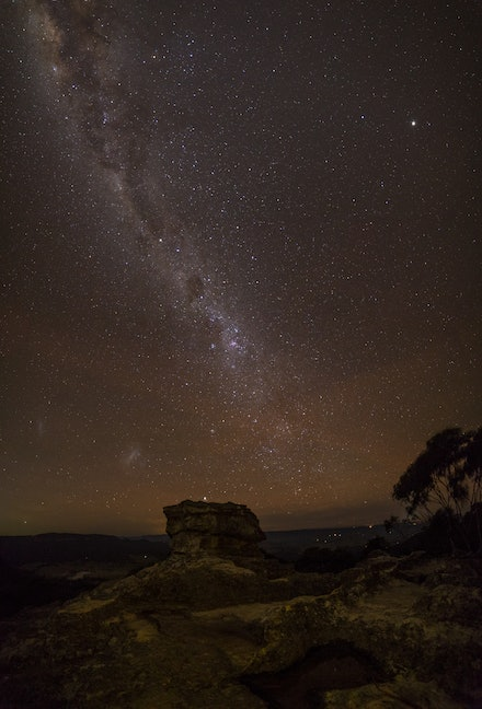Pulpit Rock airglow - When you are, usually, looking to the south at night, when it is a really dark no moon night, you can sometimes, if you are lucky...