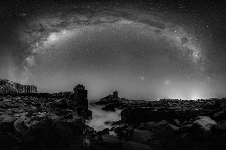 B&W Milky Way over Bombo Quarry - Black and White stitched panorama of the Southern Hemisphere Milky Way over Bombo Quarry, Kiama NSW.