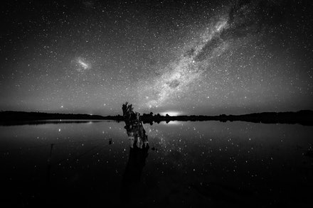 Stump at Oberon Dam - A black and white image of the Southern Hemisphere Milky Way over Oberon Dam.
