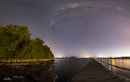 Milky Way over Lake Illawarra NSW - Stitched Panorama of the Southern Hemisphere Milky Way at Lake Illawarra NSW.