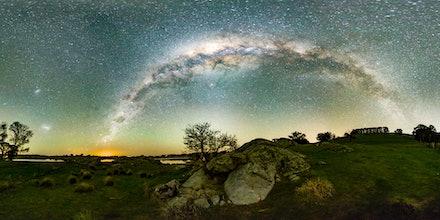 Lake Oberon Milky Way - Light 1to2 - Stitched Panorama of Southern Hemisphere Milky Way over Lake Oberon NSW.