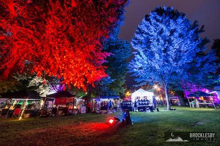 Lithgow Lights Festival Garden Markets - Lithgow Lights Festival Garden Markets by Night.