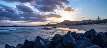 Beach Panorama - A beautiful beach panorama at Towradgi Point, Wollongong NSW.