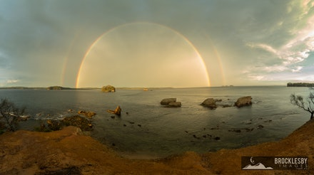 Batemans Bay Panorama  - Limited Edition Print - A panorama of a beautiful double rainbow at Batemans Bay, South Coast of Australia.