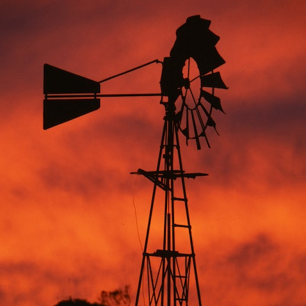 Windmill. - A windmill and a vivid sunrise just out of Port Fairy in South West Victoria, Australia.