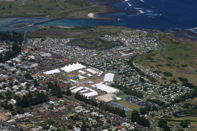 The Port Fairy Folk Festival. - An aerial view of The Port Fairy Folk Festival arena and campers that is held each year at the long weekend in early March.