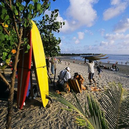 Kuta Beach. - Surfboards for hire at Kuta Beach, Bali, Indonesia.